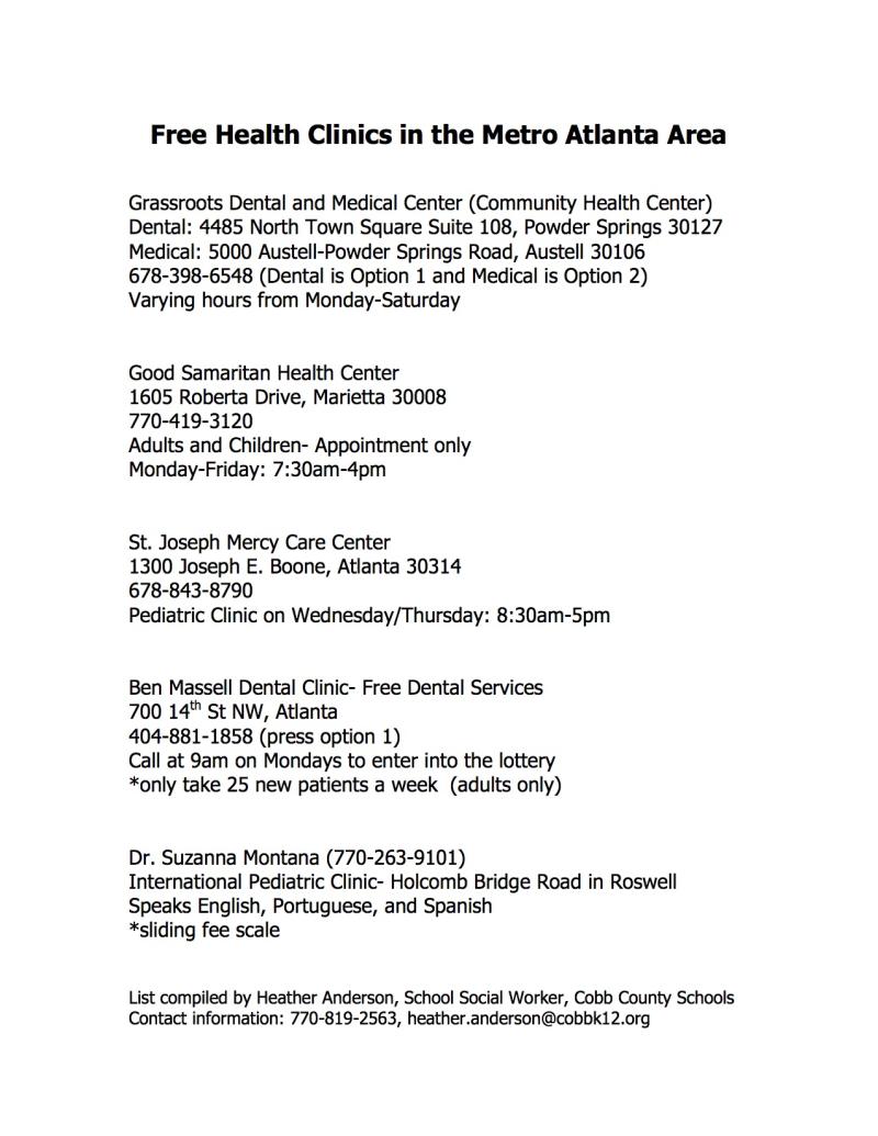 Free Health Clinics in Cobb County